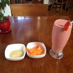 Strawberry banana smoothie, plus carrots and hummus