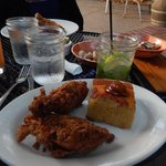 Dinner of fried chicken and cornbread