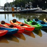 The tandem kayaks all lined up