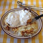 Cowboy eggs Benedict. Sausage was way too salty and overlooked. Gravy was floury...