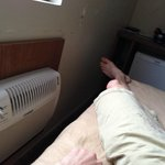 How close I had to sleep to AC unit due to beds being crammed in.