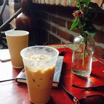 Iced latte y grande americano- perfect patio accompaniments on a Sunday afternoon to read with o