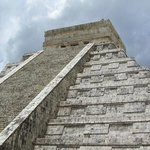 Looking up at El Castillo