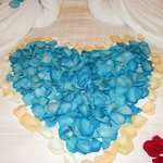 Heart Shape blue rose pedals