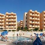 Panoramic of hotel, pool, bar grounds