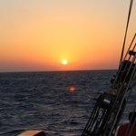 Sunset aboard the Thalassa