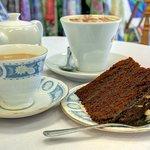 Tea served in bone china cups & homemade chocolate fudge cake