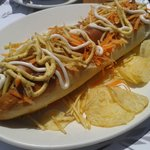 a foot long hot dog from the resturant over the road opposite the hotel.