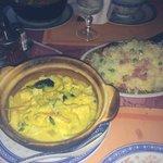 Poulet au curry encore tout chaud, et riz cantonnais