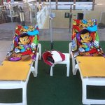 Our Sun Loungers on the Pool Deck