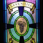 stained glass window in the tasting room at Sevenhill Cellars