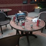 trashed patio i had my morning coffee oon