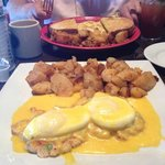 Lobster cakes eggs benedict and lobster omlette