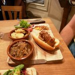 Chirizo, ox tail stew, and roasted potatoes