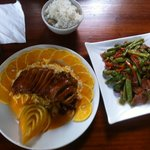 Orange duck and green beans with bacon
