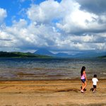 Arenal lake with a view of Arenal Volcano