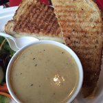 Three cheese grilled cheese and Cheddar ale soup