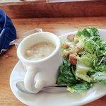 Clam Chowder with Salad