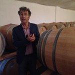 Toni talking about the wine aging in oak barrels