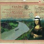 Mona Lisa luciendo un sombrero Panamá Hat pintada sobre un bono del Canal por Idielgo Perez