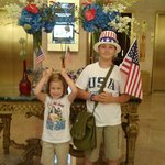 James and Ansley in the hotel lobby getting ready to go to see the fireworks!!!!