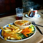 Rabbit pie and a pint of Otter ale.