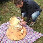 Mac Cutting the Heavenly Pecorino