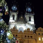 Prague square steps from Hotel.. decorated for Christmas