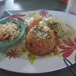Grilled Grouper, Rice and Peas, Slaw