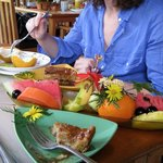 Array of wonderful tropical fruit (and more) at breakfast