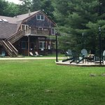 View of the carriage house and fire pit