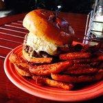 DC Burger with sweet potato fries