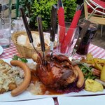 Dinner for two platter with Pork Knuckle, Schnitzel, Bratz, Frankfurter and other sausages with