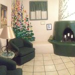 Panoramic photo of bedroom/sitting area