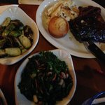 Steak tips and ribs, with side of brussel sprouts and side of kale