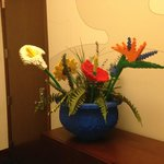 Lego flower displays in hotel
