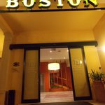 Boston Hotel entrance by night