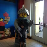 Lego character for photos at front door