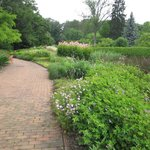 A view of the brick walks and flower beds.