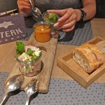 Vegetable Gazpacho with Herb Sorbet and Classic Sausage Salad