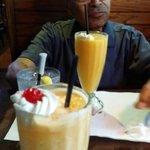 Frozen passion fruit beverage. Wow! Alejandro enjoying a passion fruit mango combination.