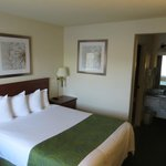 room with one queen bed