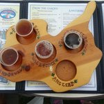 Flight on brews made at Kelley's Island Brewery