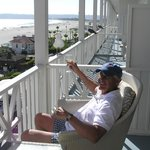 Veranda in historic part of hotel good for wine tasting and seagull watching