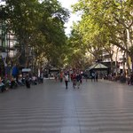 La Rambla is usually  very crowded, but caught a brief bit of emptiness.