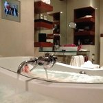 Very clean, modern bathroom with spa for aching muscles.