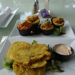 Chicken Mofongo & tostones (both are made from plantains, don't order both at the same time)