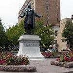 Garfield Statue to left of Garfield Suites