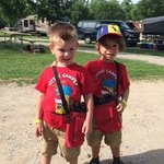 Liam & Enzo on a campground hike