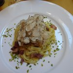 Pasta with smoked goose breast, pistachio and truffle